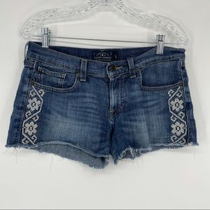 Lucky Brand Shorts Fray Cut Off Embroidery Flower